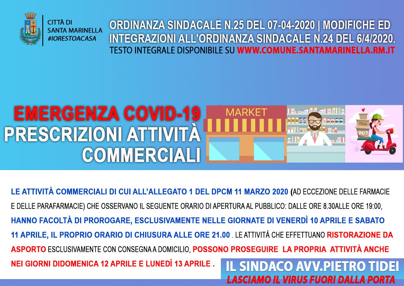 ORDINANZA DEL SINDACO Numero 25 del 07-04-2020 OGGETTO: MODIFICHE ED INTEGRAZIONI ALL'ORDINANZA SINDACALE N.24 DEL 6/4/2020.